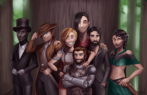 Adventurer group drawing D&D 5e by Smirking Raven