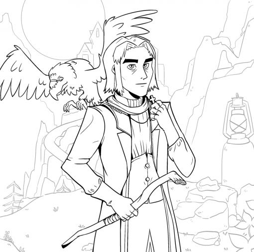 Melvin the Gilnean Priest World of Warcraft Lineart