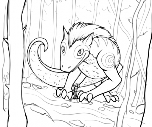 Dragon in a forest Character Design Challenge lineart by Smirking Raven