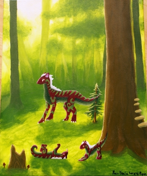 Dragon in a forest Character Design Challenge Original Painting by Smirking Raven