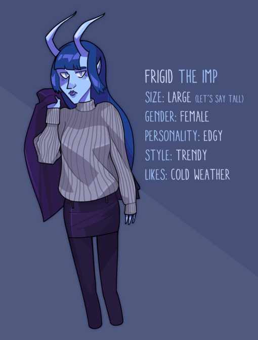 Frigid the Cold Imp by Smirking Raven with description