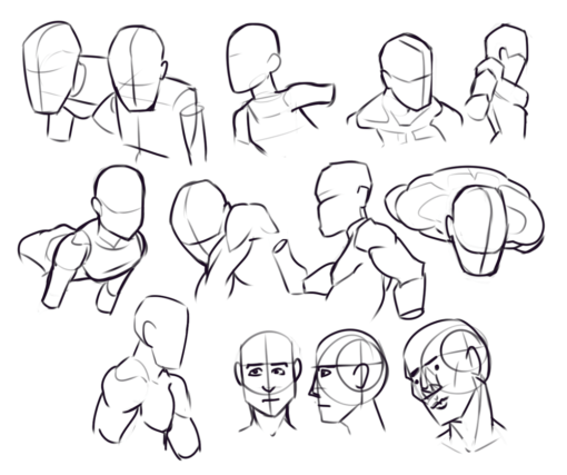 Drawing drill#6 : <br/>Heads, gestures, legs, cubes, Reilly'sfaces by Smirking Raven