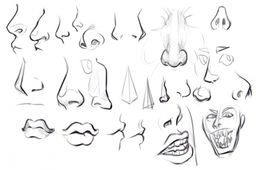 Noses and mouths drawing by Smirking Raven