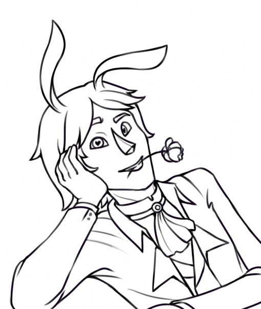 Valentin's day 2019 lineart bunny man by Smirking Raven