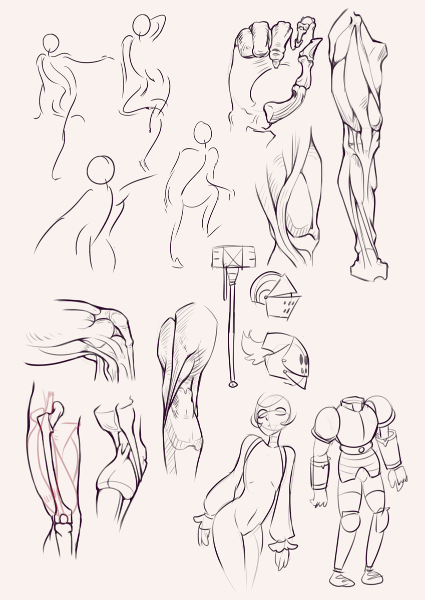 Drawing drill&nbsp;#29: <br>Bridgman studies, leg, knee, armor exploration and gestures by Smirking Raven