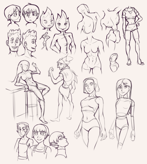 Compilation 34 Characters, body, poses, style translation and faces Drawing Drill Challenge by Smirking Raven