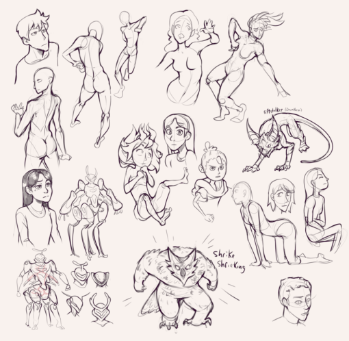 Compilation 35 Characters, body, poses, style translation and faces Drawing Drill Challenge by Smirking Raven