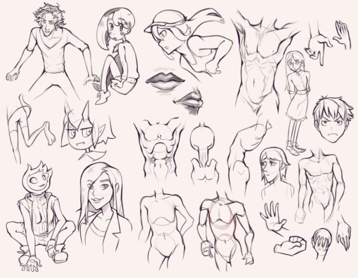 Compilation 37 Characters, body, poses, style translation and faces Drawing Drill Challenge by Smirking Raven