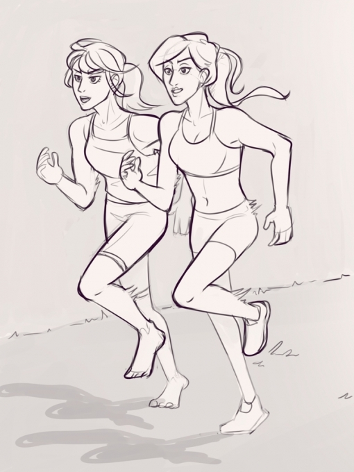 Women running side by side - Drawing drills by Smirking Raven