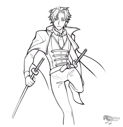 Infinity Slash - Anime modern samurai lineart by Smirking Raven