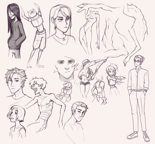 Drawing drill#46: <br>Character poses, torso anatomy, faces by Smirking Raven