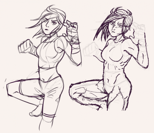 Girl hit punch angry pose design - Drawing drills by Smirking Raven