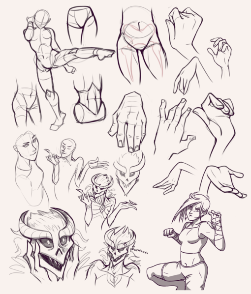 Drawing drill#49: <br>Alien faces, martial poses, hands and hips by Smirking Raven