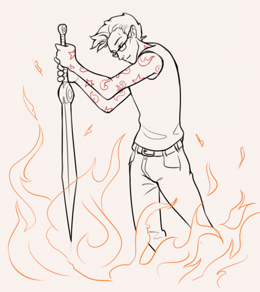 Roasted man fire sword - Drawing Drills by Smirking Raven