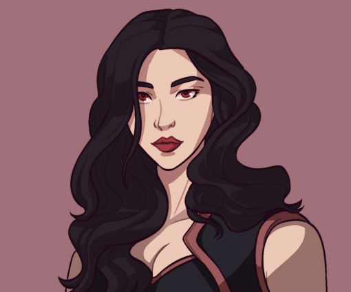 Kate - Sexy women vampire black hair drawing By Smirking Raven