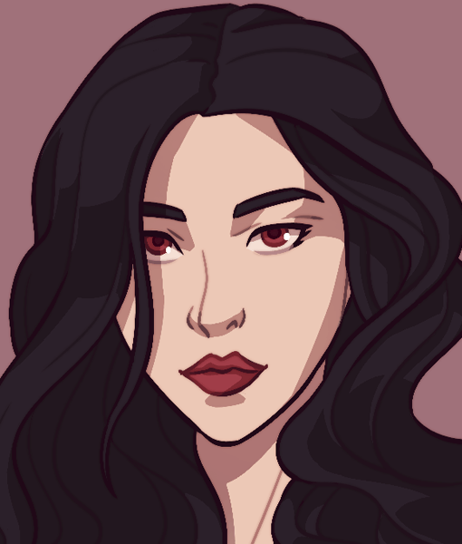 Kate - Sexy women vampire black hair drawing close-up By Smirking Raven