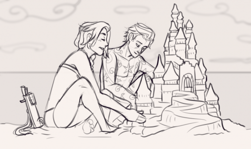 Sand castle beach Drawing Drill by Smirking Raven