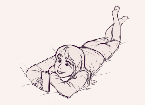 Girl texting in bed Drawing Drill by Smirking Raven
