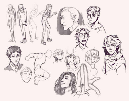 Drawing drill#57: <br/>Faces and gestures by Smirking Raven