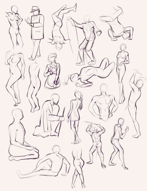 2 minutes quick poses anatomy gesture - Drawing Drills by Smirking Raven