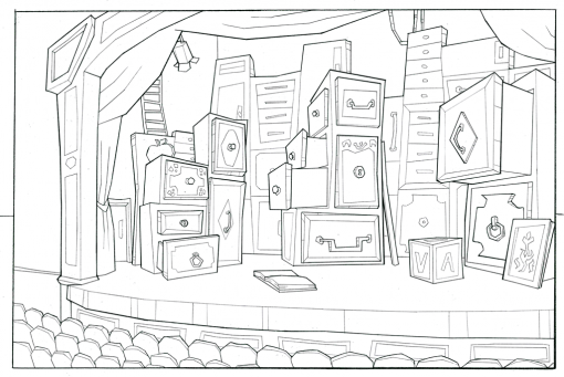 Doll Theater Matilda Background lineart by Smirking Raven