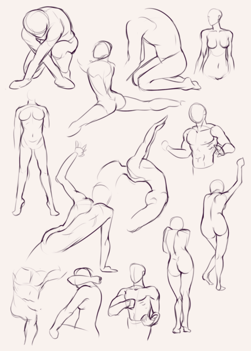 3 minutes quick poses anatomy gesture - Drawing Drills by Smirking Raven