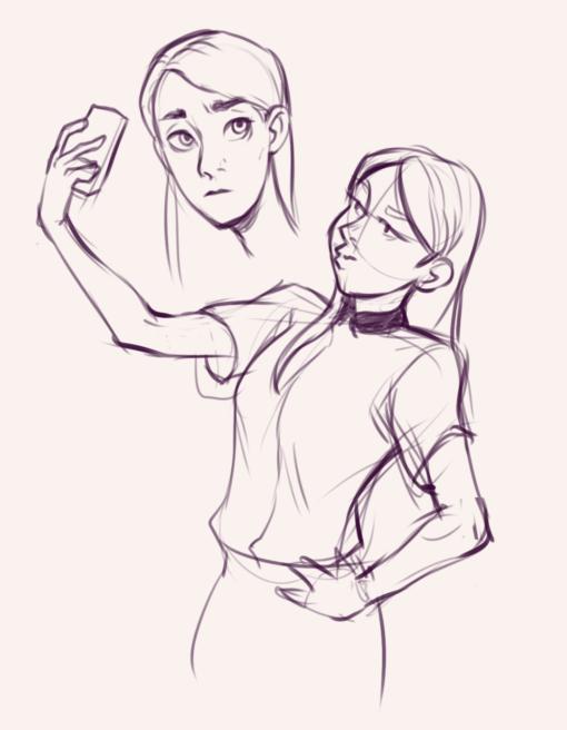 Selfie pose - Drawing drill - Smirking Raven
