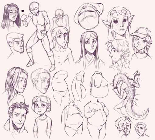 Drawing drill#68: <br/>Characters by Smirking Raven
