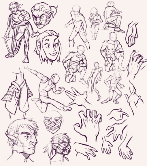 Poses, Hobgoblin and hands - Drawing Drills by Smirking Raven