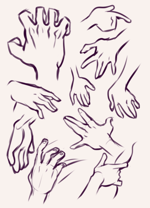 Hands poses practice - Drawing drills by Smirking Raven
