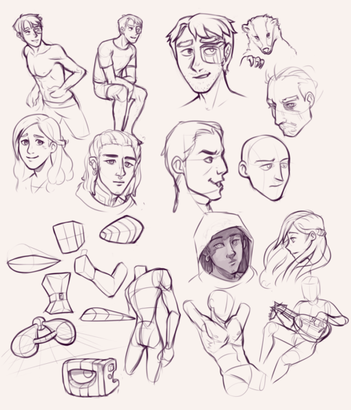 Boys, 3D forms and faces : <br/>Drawing drill#76 by Smirking Raven