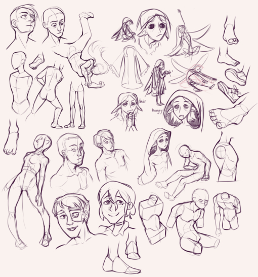 Torsos, faces, sleepy fairy design for CDC : <br/>Drawing drill#77 by Smirking Raven
