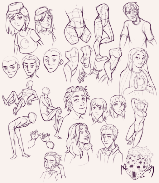 Anatomy constructions, faces, poses: <br/>Drawing drill #82 by Smirking Raven