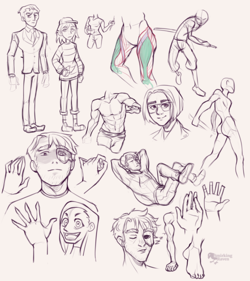 Poses, muscles, hands and expressions: <br/>Drawing drill#83 by Smirking Raven