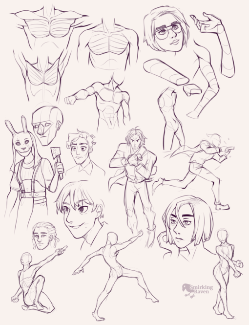 Arms, torso, pectorals, poses : <br/>Drawing drill #84 by Smirking Raven