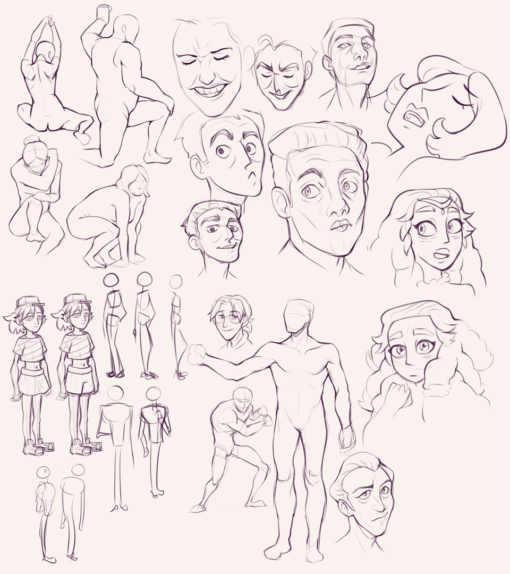 Face expressions, poses, character design : <br/>Drawing drill #85 by Smirking Raven