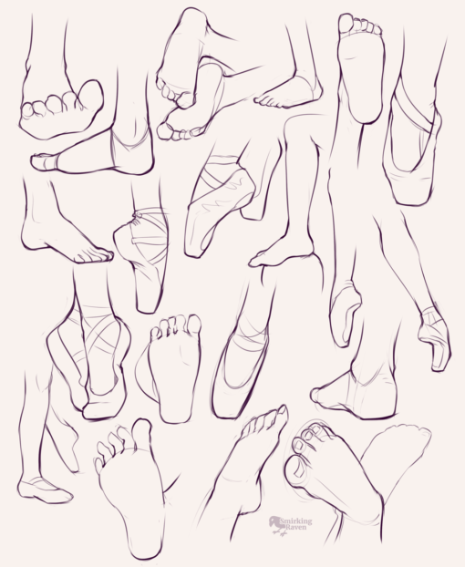 Feet, gestures, anatomy and video games: <br/>Drawing drill #87 by Smirking Raven
