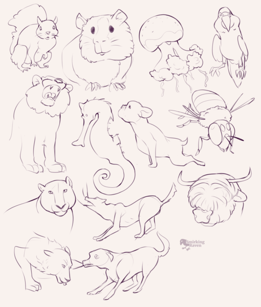 Animals anatomy and doodles: <br/>Drawing drill#89 by Smirking Raven