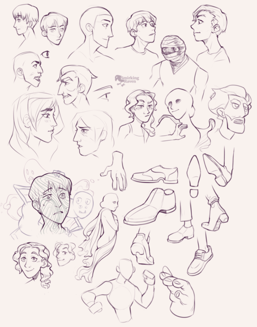Faces, profiles and hands : <br/>Drawing drill #92 by Smirking Raven