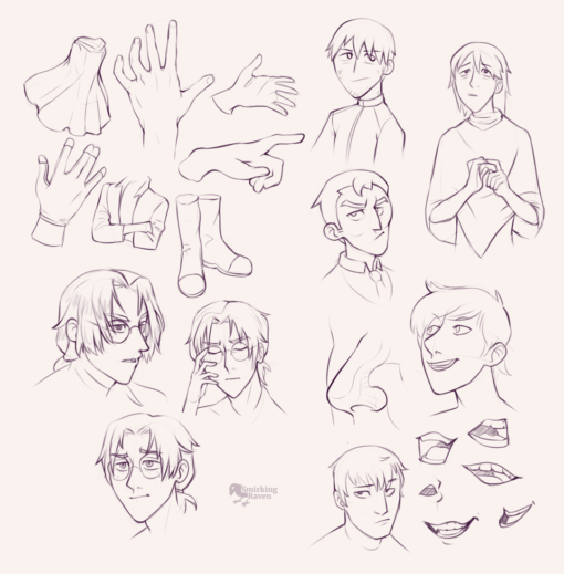 Characters, hands, and faces : <br/>Drawing drill#96 by Smirking Raven