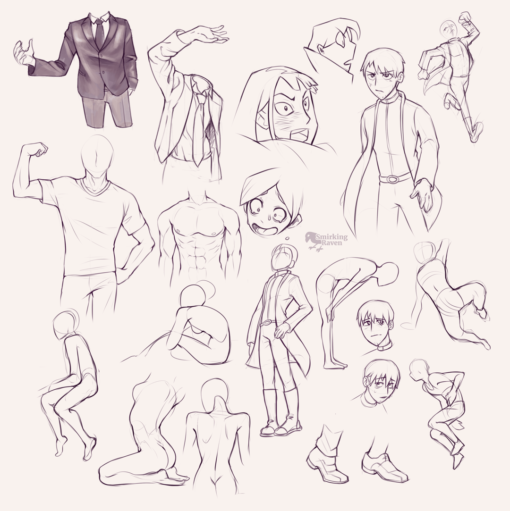 Cloth, torsos, poses : <br/>Drawing drill#97 by Smirking Raven